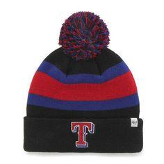 804544608e346 Texas Rangers 47 Brand Black Breakaway Knit Cuffed Poofball Beanie Hat Cap