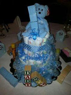 Announcing,  It's a baby boy,  diaper cake 7/2014