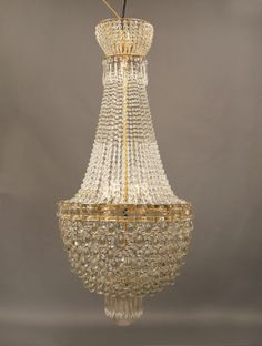 Late 19th/Early 20th Century Gilt Bronze and Beaded Eight Light Basket Chandelier
