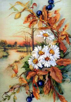Painting Autumn Silk ribbon embroidery by SilkRibbonembroidery