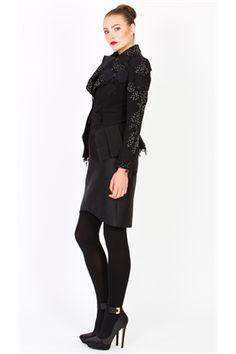 A jacket with rock and roll attitude. Applique roses, lace and beading across the lapels and sleeves make this jacket unforgettable. It has pleated peplum detailing at the hem in a luxurious ribbed fabric. Size & Fit: Model is 177cm tall Model wears a NZ 8/ EU 36/ US 6 Wash Guide: Dry clean only using (f) solution Select a high quality drycleaner. Gentle short. Low moisture cool temperature. Do not wring. Drip dry. Do not allow to be Exposed to direct sunlight. Fabric Composition: Main: ...