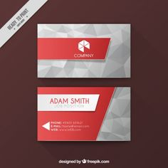 Polygonal business card Free Vector