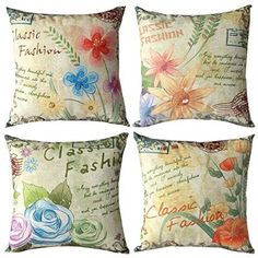 """$35.99 WOMHOPE 4 Pcs -18""""Flower Vintage Style Cotton Linen Square Throw Pillow Case Decorative Cushion Cover Pillowcase Cushion Case for Sofa,Bed,Chair (Flower (M Set of 4))"""