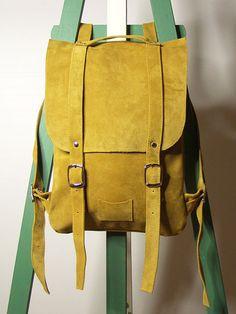 Sac de sac à dos en cuir verge d'or/curry / sur par kokosina