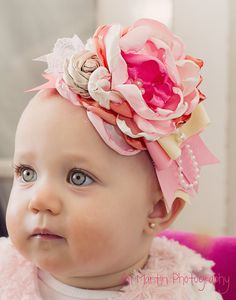 Pink and Orange headband by Caprice Colette by CapriceColette, $21.99