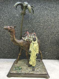 VERY RARE ORIENTALIST FRANZ BERGMAN AUSTRIAN BRONZE ARAB WITH CAMEL CARAVAN #bergman