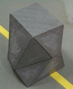 """bent sheet metal """"crumple stool"""""""