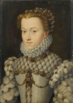 circa 1571 by François CLOUET. ELISABETH of Austria, a Hapsburg princess who became Queen Consort of FRANCE to Charles IX. Paris ; musée du Louvre