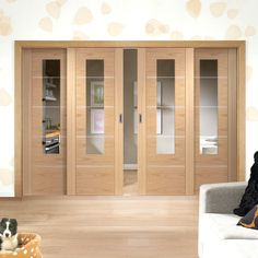 Easi-Slide OP1 Oak Portici Sliding Door System with Clear Cut Glass in Two Size Widths and with sliding track frame. #slidingdoors #oakglazedslidingdoors #contemporarydoors