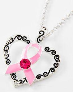 Antique Silver Tone Metal / Pink Epoxy & Rhinestone / Lead Compliant / Heart W/pink Ribbon Pendant / Necklace