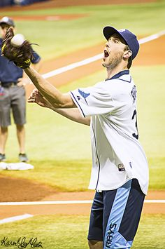 Ben Bishop practicing with the Tampa Bay Rays