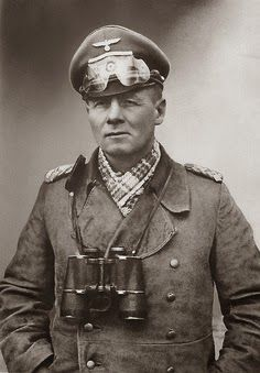 Field Marshal Erwin Rommel (1891-1944), popularly known to both sides as the Desert Fox (Wüstenfuchs), somewhere in North Africa (ca. 1942). Overall commander of the German forces in Normandy, he was in Germany for his wife's birthday that day, assuming the weather was too bad for an invasion. He was a solid soldier, prepared diligently, did the right things, but the balance of forces was overwhelmingly against him.