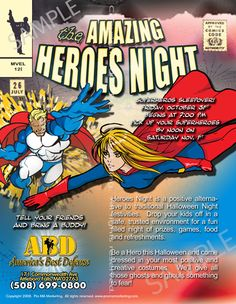 """flyer5ks_heroes; Full-color, high-quality 8.5x11"""" single-sided flyers printed on 100 lb. gloss bookstock plus aqueous coating for your neighborhood marketing efforts. Sold in bulk of 500 for $275! Choose double-sided for only $100 more! Choose 5.5 x 8.5"""" flyers from the drop-down box and save $25! Text is fully customizable for FREE!"""