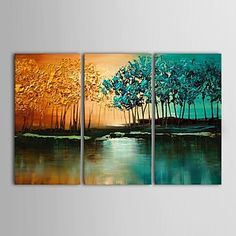 IARTS®Hand+Painted+Oil+Painting+Landscape+Abstract+Jungle+Swamp+Tree+with+Stretched+Frame+Set+of+3+–+USD+$+136.99