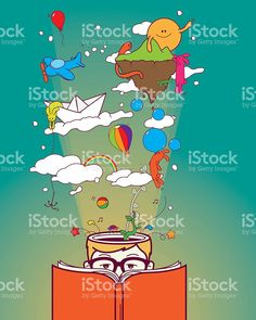 Creative boy reading and dreaming royalty-free stock vector art Free Vector Art, Image Now, Little Boys, Art Reference, Creatures, Canvas, Reading, Prints, Fictional Characters