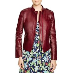 Tory Burch Leather Moto Jacket ($1,045) ❤ liked on Polyvore featuring outerwear, jackets, barberry, biker jacket, 100 leather jacket, real leather jacket, motorcycle jacket and rider jacket