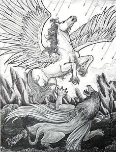 """Strife"" by Angela K. Scott. ---- Art, Drawing, Illustration, Gryphon, Griffon, Pegasus, Winged Horse, Wings, Fantasy, Battle, Conflict, Fighting, Magical, Magic, Mythological Creatures, Beasts, Myth, Rain-swept Landscape, Rains, Rocky, Realistic, Realism, Action, Motion, Fierce, Strength."