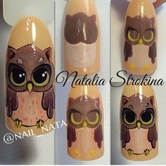 """""""Beauty is in the eye of the beholder"""". Owl Nail Art, Owl Nails, Animal Nail Art, Cute Nail Art, Nail Art Diy, Minion Nails, Fingernail Designs, Cute Nail Designs, Nail Techniques"""