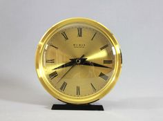 Vintage Mid Century Modern Brass Table Clock Desk Clock Weimar GDR Easter Germany 1950's 60's by Vinteology on Etsy