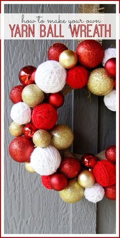 How to make your own yarn ball wreath from MichaelsMakers Sugarbee Crafts