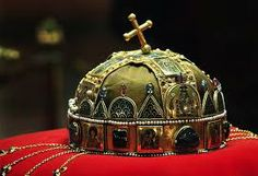 """Hungarian royal crown. According to popular tradition, St Stephen held up the crown during the coronation (in the year 1000)  to offer it to the """"Nagyboldogasszony"""" (the Blessed Virgin Mary)"""