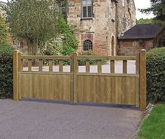 GARDEN TIMBER WOODEN GATES - Wooden Fortress Driveway Double Gates GRANGE