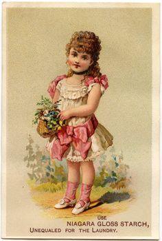 Vintage Basket Girl Image - Spring! - The Graphics Fairy