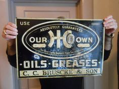 Vintage Sign HCO Oils and Greases Gas 1930's Rare Embossed Tin Not Porcelain #Hco