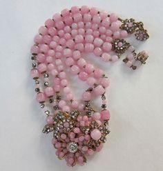 Vintage Miriam Haskell Opalescent Pink Glass Rose Montee Crystals Neckalce | eBay