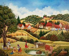 Mariana Mihut-Verano Art Original, Naive Art, Oeuvre D'art, Les Oeuvres, Folk Art, Illustration, Scenery, Art Gallery, Landscape