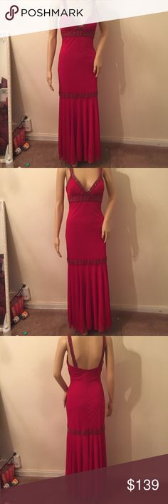 Stunning red evening gown Love love this classy beautiful red dress! Wear it to any speical occasion! The top is beaded! Comfy! Bundle to save on shipping! No trades Love ❤️ Tease Dresses Prom