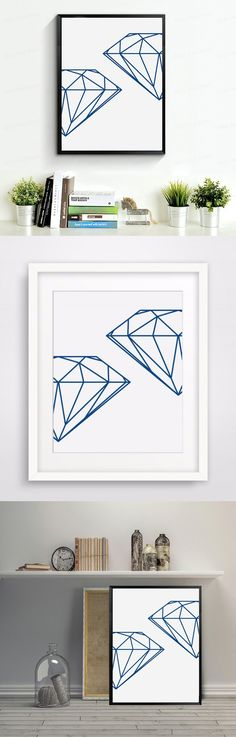 Navy Geometric Diamond, Wall Prints Wall Art Print, Diamonds Canvas Art Painting by Numbers Pictures Modern Home Decor no frame $6.99