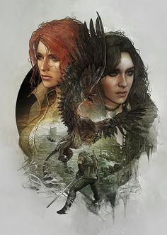 The Witcher III: Wild Hunt - Yennefer and Triss Steelbook Artwork