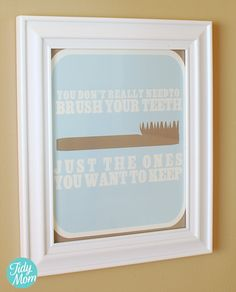 Brush your teeth free printable reminder at TidyMom.net