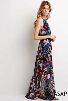Flowy Floral Print Halter Neck Midi Dress - OASAP.com