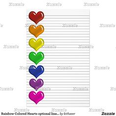 Rainbow Colored Hearts optional lines stationery Business Correspondence, Letter Writing, Rainbow Colors, Create Your Own, Stationery, Hearts, Notes, Letters, Make It Yourself