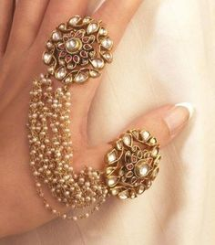 Indian, #Desi #Jewelry ~ Mughal Kundan Ring Duo Attached with Pearls A Unique Piece of Art to Adorn | eBay