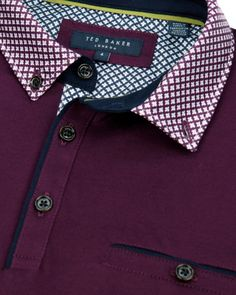 Printed collar polo - Purple | Tall | Ted Baker UK