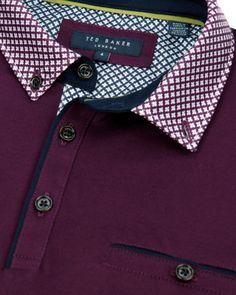 Printed collar polo - Purple   Tall   Ted Baker UK