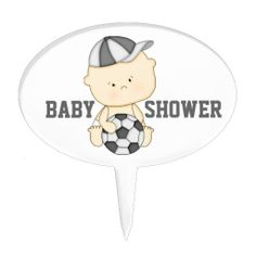 Cute soccer baby cake topper for a sports themed baby shower.