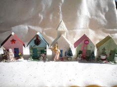 Vintage Inspired Small Modern Putz Village Houses with Church, Bottlebrush trees, Japan angel. $14.00, via Etsy.