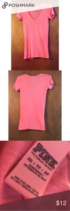 Victoria's Secret PINK V-Neck Victoria's Secret PINK Bubblegum Pink V-Neck in size Xsmall. 60% Cotton, 40% Polyester. In perfect condition - so no flaws. While it's an Xsmall, it can likely fit a small too. Feel free to ask any questions you may have! PINK Victoria's Secret Tops Tees - Short Sleeve