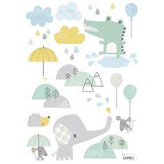 Stickers crocodile et éléphant Smile, it's raining by Dawn Machell x 42 cm) Alphabet Poster, Cuadros Diy, Decoration Stickers, Baby Kind, Little Girl Rooms, Kids Prints, Cartoon Kids, Baby Design, Cute Illustration