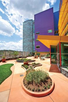 Children's Hospital of Pittsburgh of UPMC, Pittsburgh - Bronze Award. . Bold colors and curvilinear shapes create a dynamic design at the Howard Hanna Healing Garden at the Children's Hospital of Pittsburgh of UPMC, making the rooftop garden simultaneously stimulating and stress relieving. Photo: Denmarsh Photography.