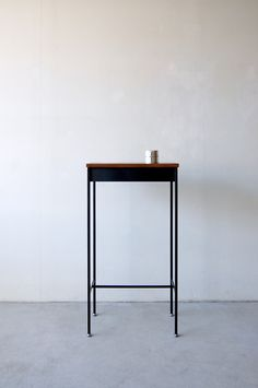 nautdesign: 057 | 01_Custom made furniture Frame side table : W450 D250 H850 / Solid Black walnut oil finish / Steel hardening melamine paint