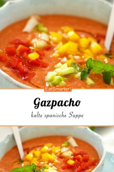 Cold Spanish Soup (Gazpacho) - Food and Drink - - Asian Food Recipes, Healthy Food Recipes, Soup Recipes, Dinner Recipes, Mexican Recipes, Veggie Recipes, Latin Food, Spanish Food, Salads