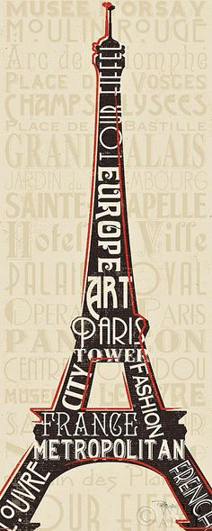 Paris City Words I - 8x20  - 8x20 by
