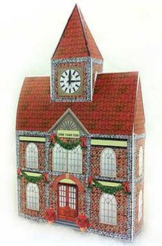 Printable houses to make a village. Click on link for all of the free templates. http://www.christmas-village-displays.com/christmas_printable_houses.html