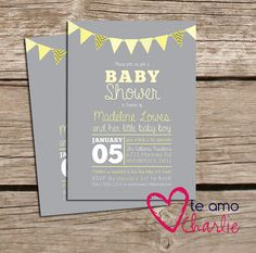 Printable Gender Neutral Baby Shower Invitations - Yellow & Gray Invitations on Etsy, $14.94 CAD