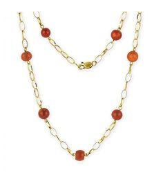 Gargantilla de Oro Amarillo 18kt y Bolas de Coral – 42cm - Subastas Regent's   Joyas y Antigüedades